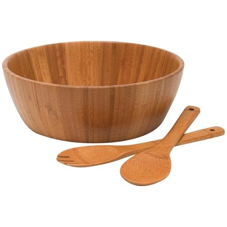 Lipper International Bamboo Salad Bowl with Servers, 3-Piece Set (Glass Large Salad Bowl)