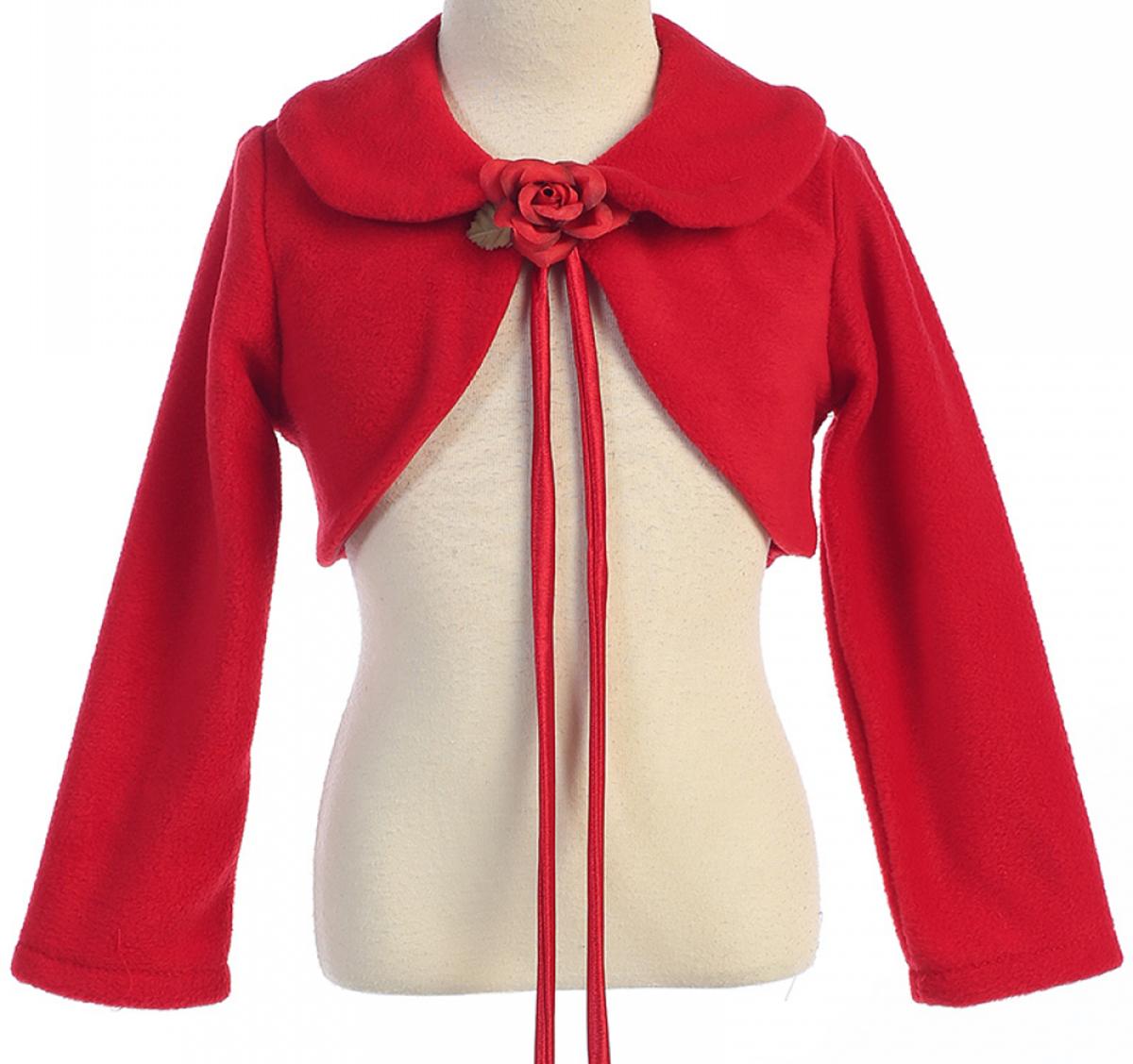 Big Girls' Long Sleeve Fleece Party Flower Girl Bolero Jacket Cover Up Red 8 (K21D6)