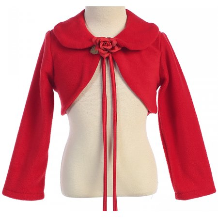 - Big Girls' Long Sleeve Fleece Party Flower Girl Bolero Jacket Cover Up Red 8 (K21D6)