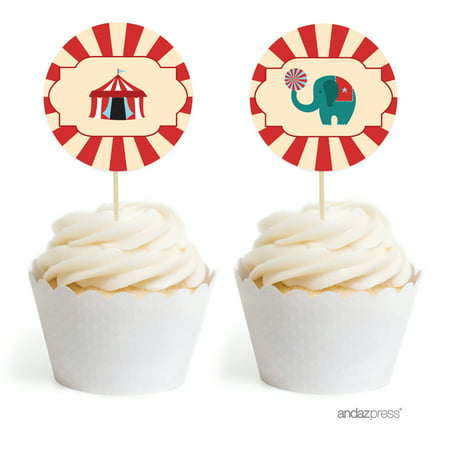 Carnival Circus Birthday Cupcake Topper DIY Party Favors Kit, 20-Pack](Carnival Theme Cake)