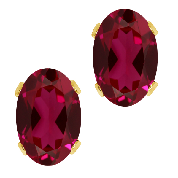 1.36 Ct Oval 6x4mm Red Created Ruby 925 Yellow Gold Plated Silver Stud Earrings