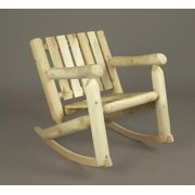 """33"""" Natural Cedar Log Style Indoor/Outdoor Wooden Low Back Rocking Chair"""