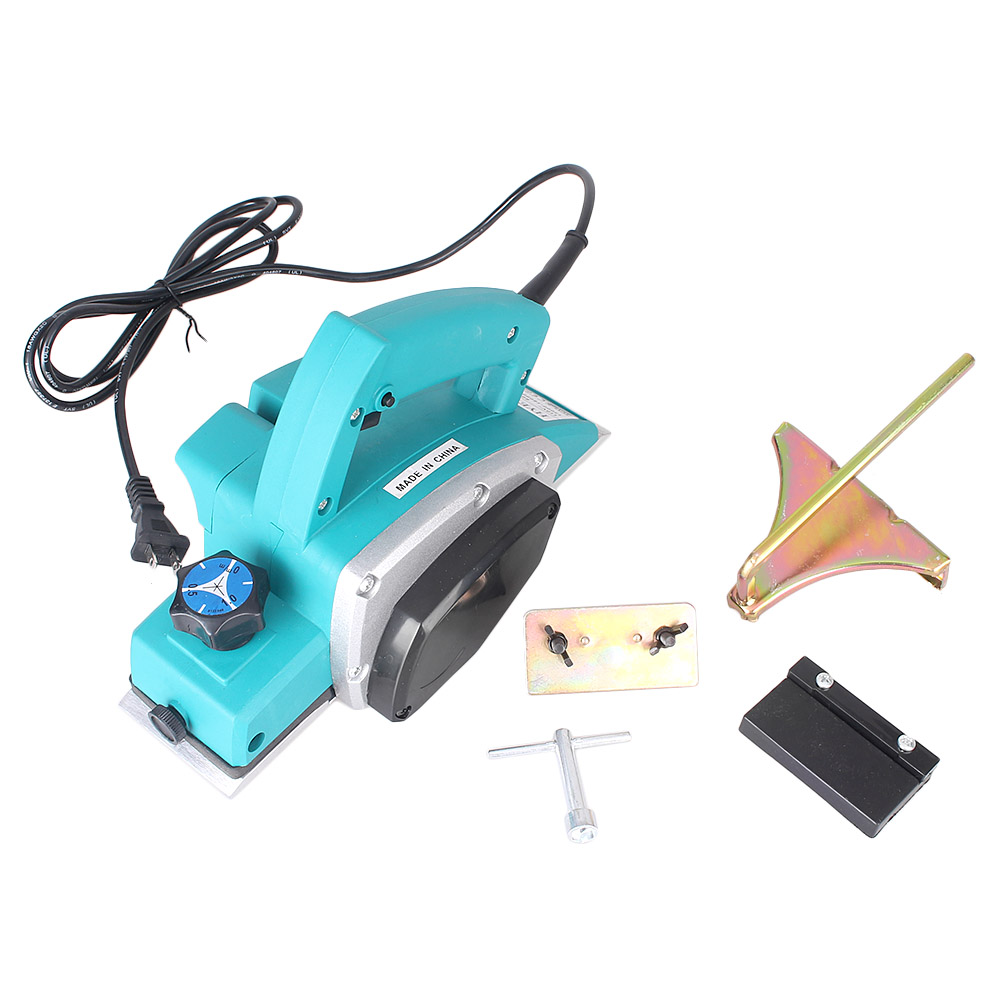 GZYF Powerful Electric Wood Plane Hand Held Planer Woodworking, Blue by