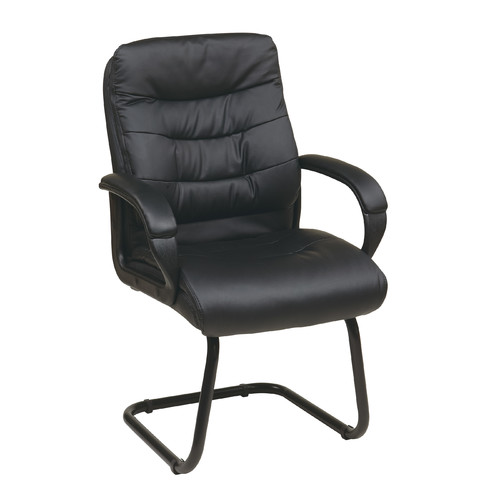 Faux-Leather Guest Reception Waiting Room Chair with Padded Arms and Sled Base, Black