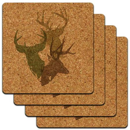 Deer Heads Design Hunting Hunter Camo Low Profile Cork Coaster Set