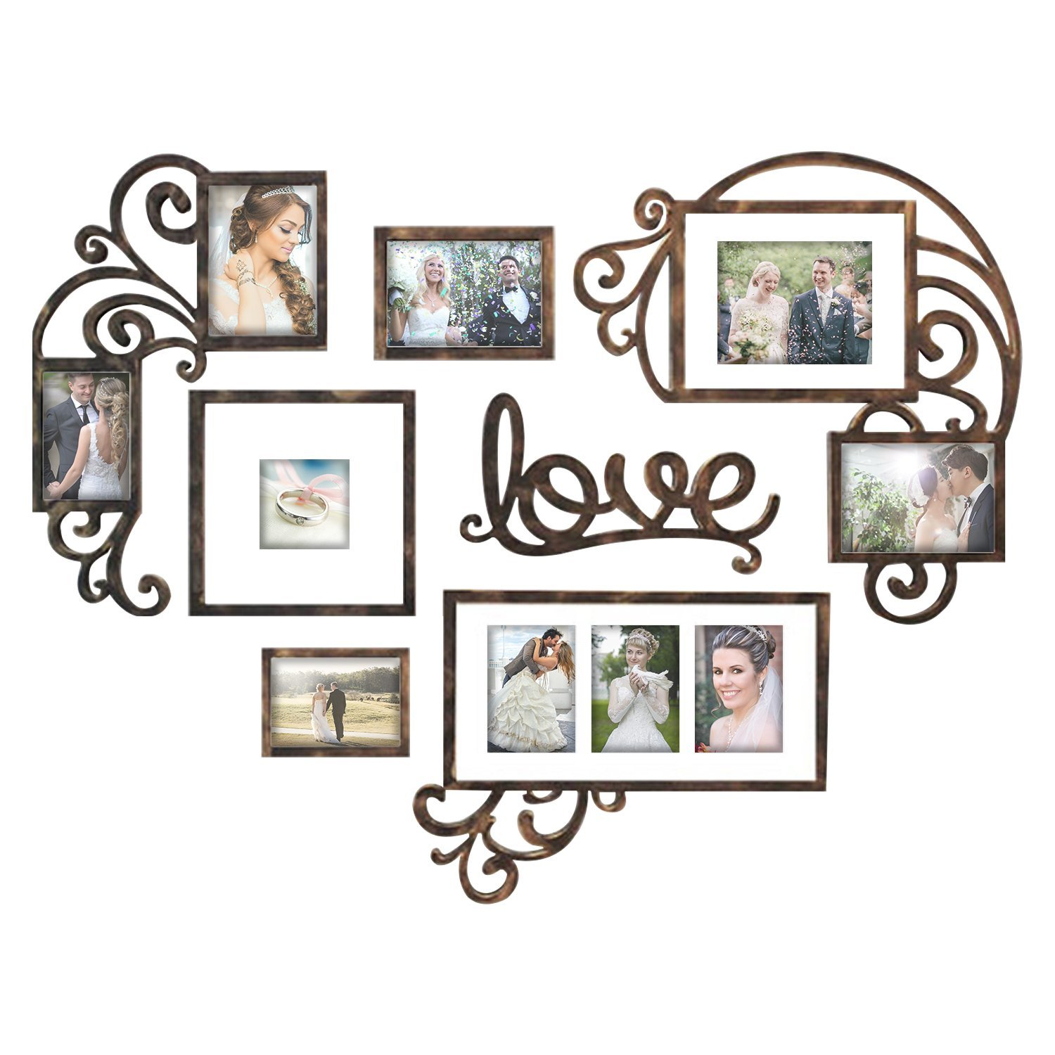 DL furniture - Heart Love Photo Frame & Plaque College - Valentine Wall Decoration Combination - PVC Picture Frame Selfie Gallery Collage Wall Hanging Mounting Design | Love Heart Shape | Brown Tone