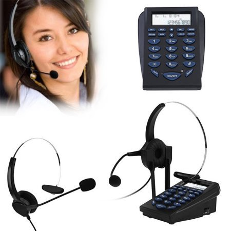 AGPtek Hands-free Call Center Noise Cancellation Corded Monaural Headset Telephone with Backlight Tone Dial Key - Phone Headset Jack