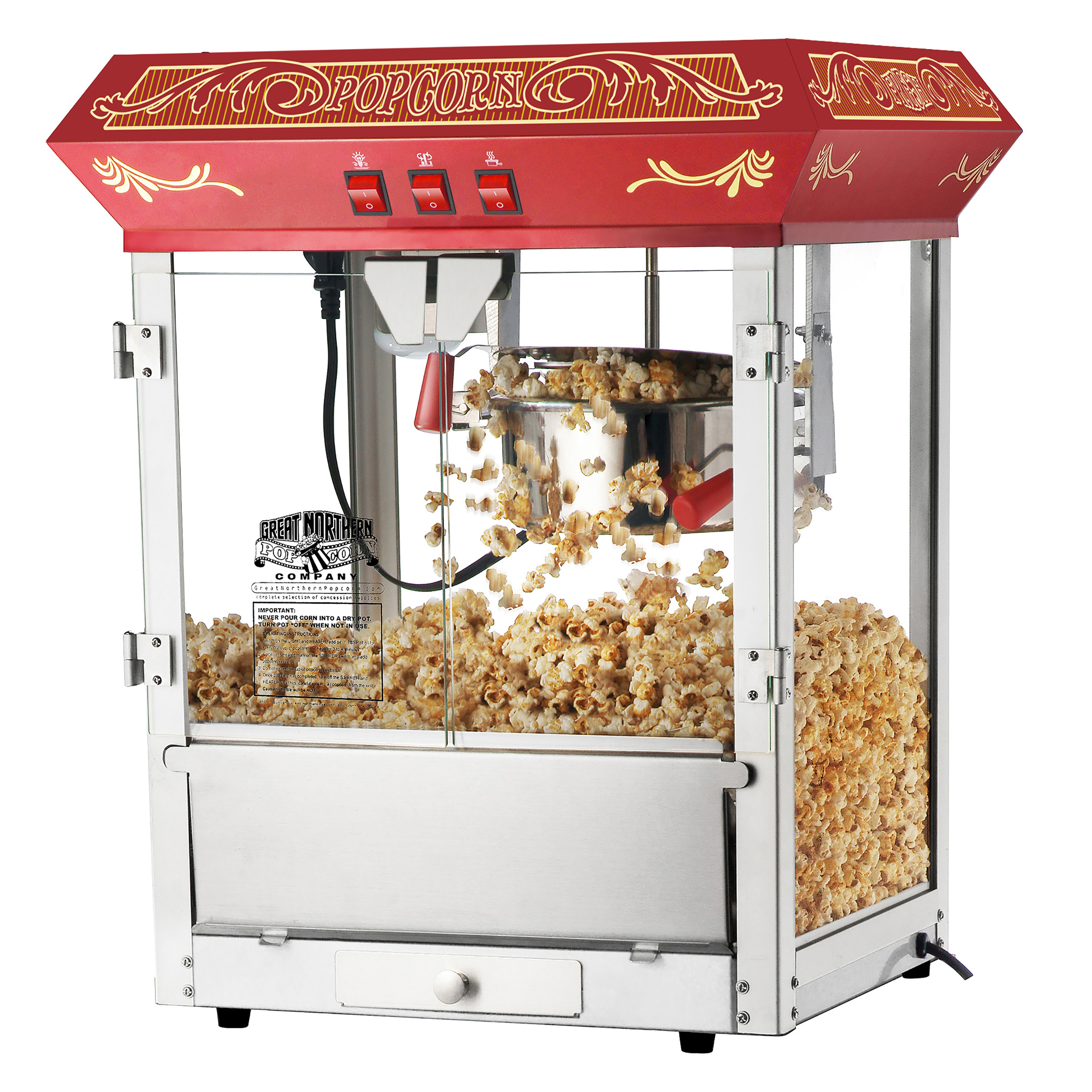 Red Old Time Popcorn Popper Machine, 8 Ounce by Great Northern Popcorn