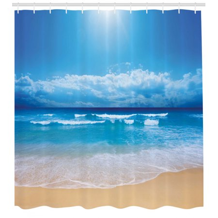 Beach Shower Curtain, Seascape Theme Landscape of the Beach and the Cloudy Sky in Summer Digital Print, Fabric Bathroom Set with Hooks, Sand Brown Blue, by Ambesonne
