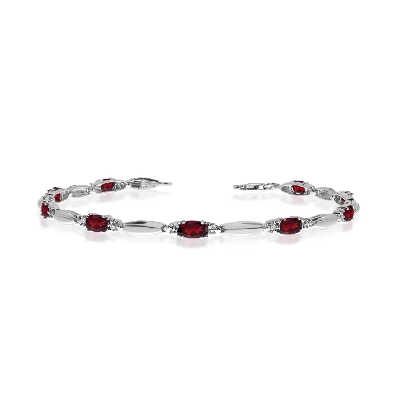 14K White Gold Oval Garnet and Diamond Bracelet by