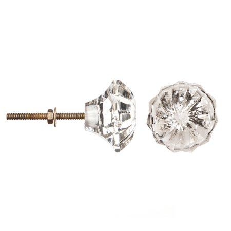 Decorative Knob - Glass - Round - Clear Burst ()