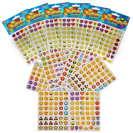 Emoji Stickers - 12 Pack, Each Pack Contains 6 Sheets Of Stickers, 48 Stickers Per Sheet, All Together 3,456 Stickers In Different Popular Emoticons – Great Party Favor, Prize, Gift – By Kidsco (Emoji Sticker Pack)