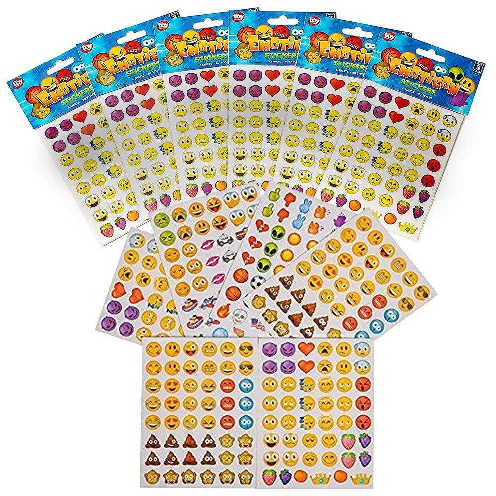 Emoji Stickers - 12 Pack, Each Pack Contains 6 Sheets Of Stickers, 48 Stickers Per Sheet, All Together 3,456 Stickers In Different Popular Emoticons – Great Party Favor, Prize, Gift – By Kidsco