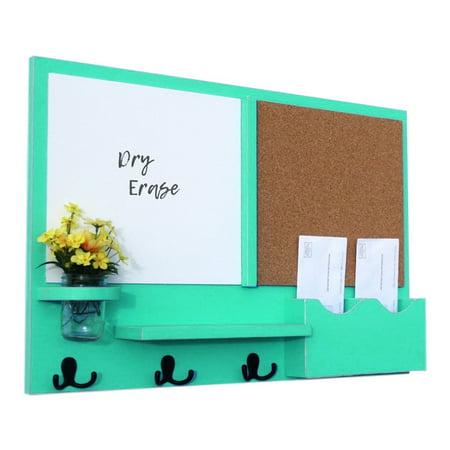 - Message Center White Board & Cork Board Letter Holder with Coat Hooks & Mason Jar