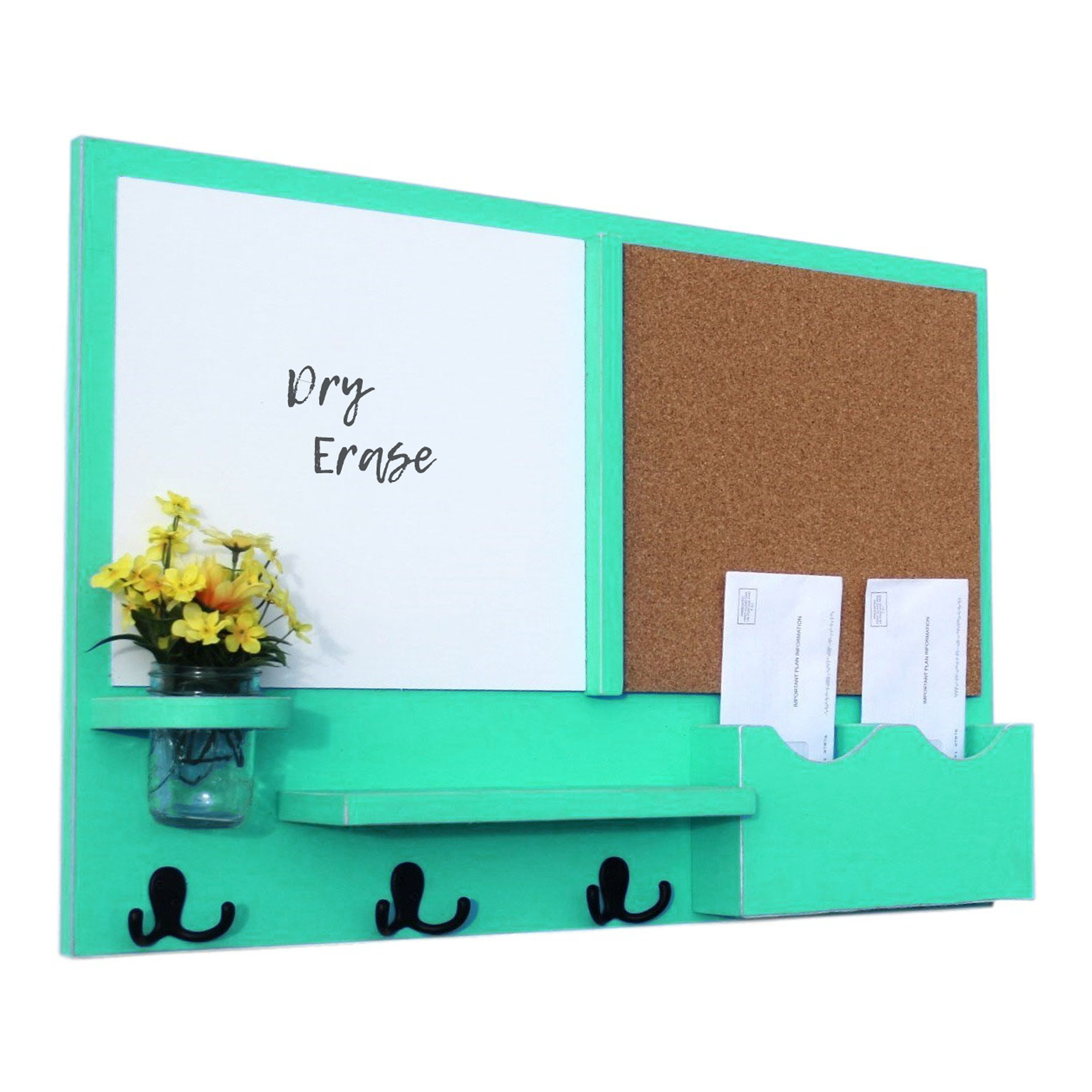 Message Center White Board & Cork Board Letter Holder with Coat Hooks & Mason Jar