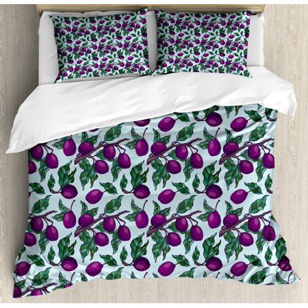 Vegan Duvet Cover Set Queen Size, Pattern of Plum Branches with Ripe Juicy Fruits Nutritious Diet, Decorative 3 Piece Bedding Set with 2 Pillow Shams, Plum Jade Green and Baby