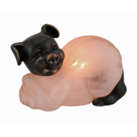 Bronze Finished Mottled Pink Glass Pig Accent Lamp