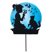 Funtime Girl and Cat Solar Shadow Garden Stake Decoration, Grlncat