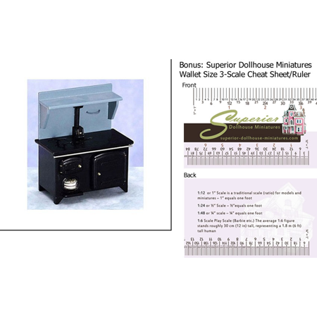 Dollhouse Miniature Wood Stove Black Cb w/3-Scale Wallet Ruler