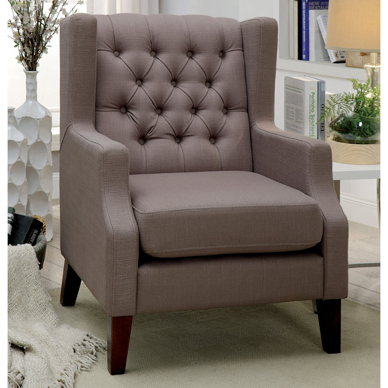Furniture of America Zarra Contemporary Style Wingback Arm Chair