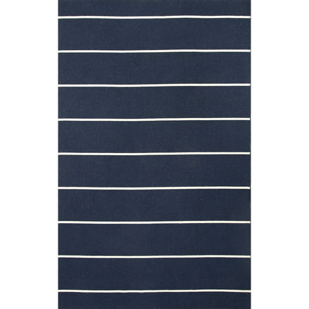 4' x 6' Navy Blue and Ivory Cape Cod Flat Weave Wool Area Throw