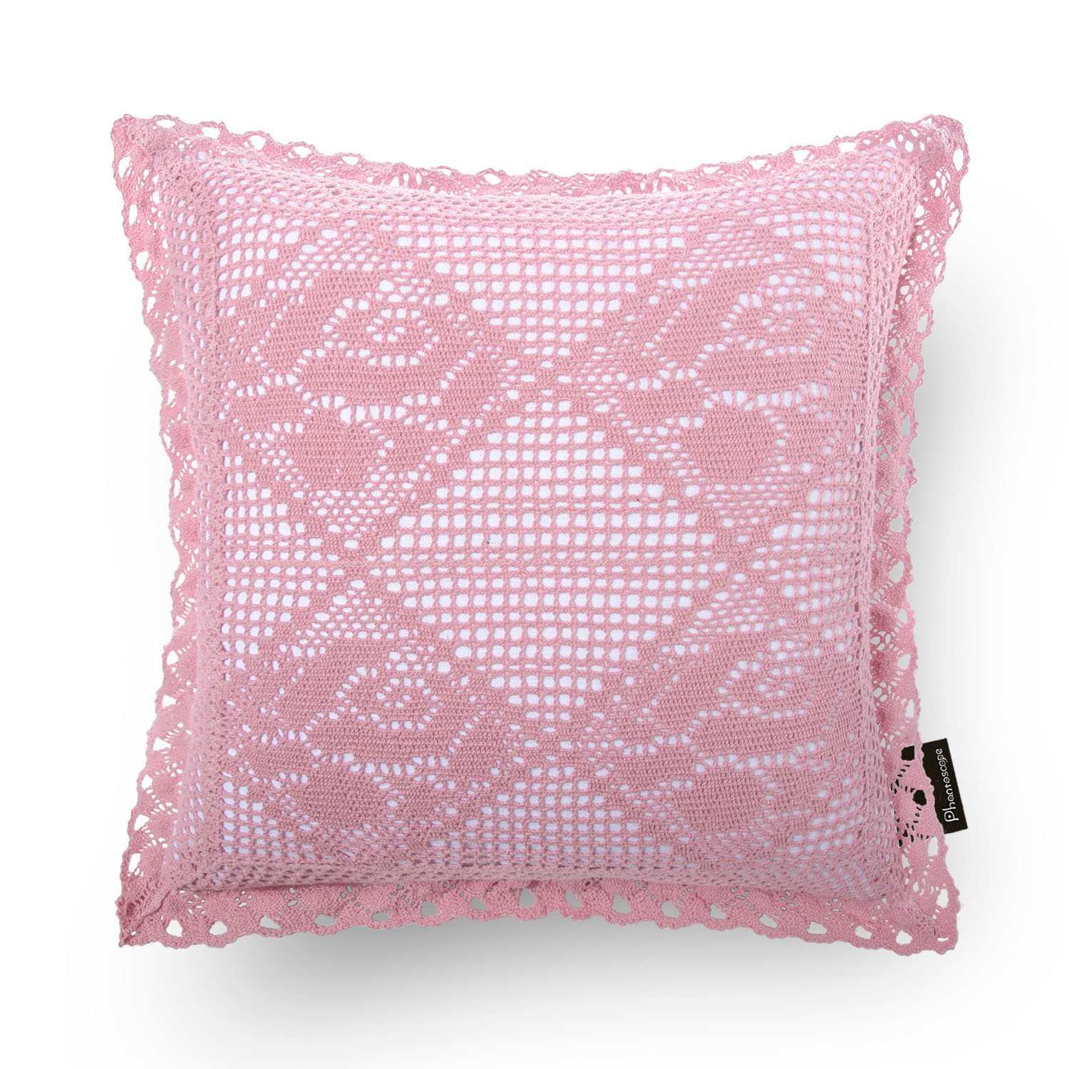 Phantoscope Decorative Crochet Trimmed Throw Pillow Cover (Pink)