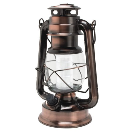 (Northpoint Vintage Style Copper Hurricane Lantern with 12 LED's and 150 Lumen Light Output and Dimmer switch, Battery Operated Hanging Lantern for Indoors and Outdoor Usage)