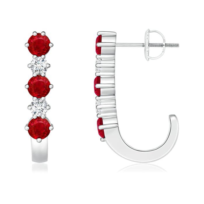 Angara July Birthstone Ruby Hoop Earrings in Platinum iw7H38
