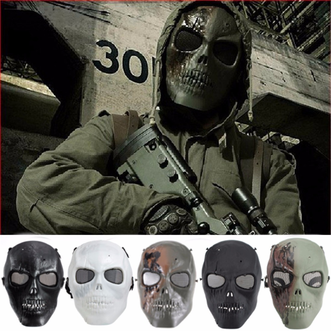 Fashion Tactical Skeleton Airsoft Paintball Full Face Protection Skull Mask Hot
