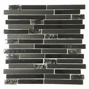 EKBInnovations Upscale Designs 12-inch Black Glass Mesh-Mounted Mosaic Wall Tile (6 sheets) 6