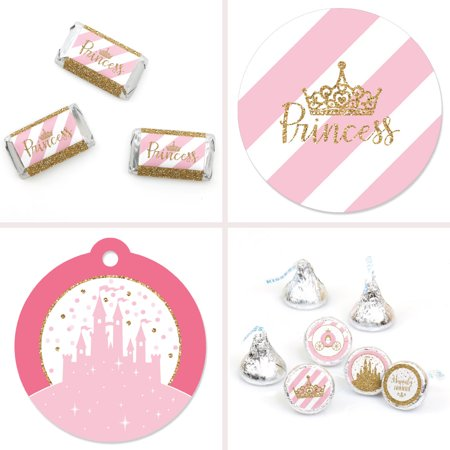 Little Princess Crown - Pink and Gold Princess Baby Shower or Birthday Party Decor Favor Kit - Party Stickers & Tag-172 - Pink And Gold Baby Shower Decorations