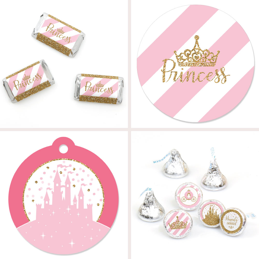 Little Princess Crown - Pink and Gold Princess Baby Shower or Birthday Party Decor Favor Kit - Party Stickers & Tag-172