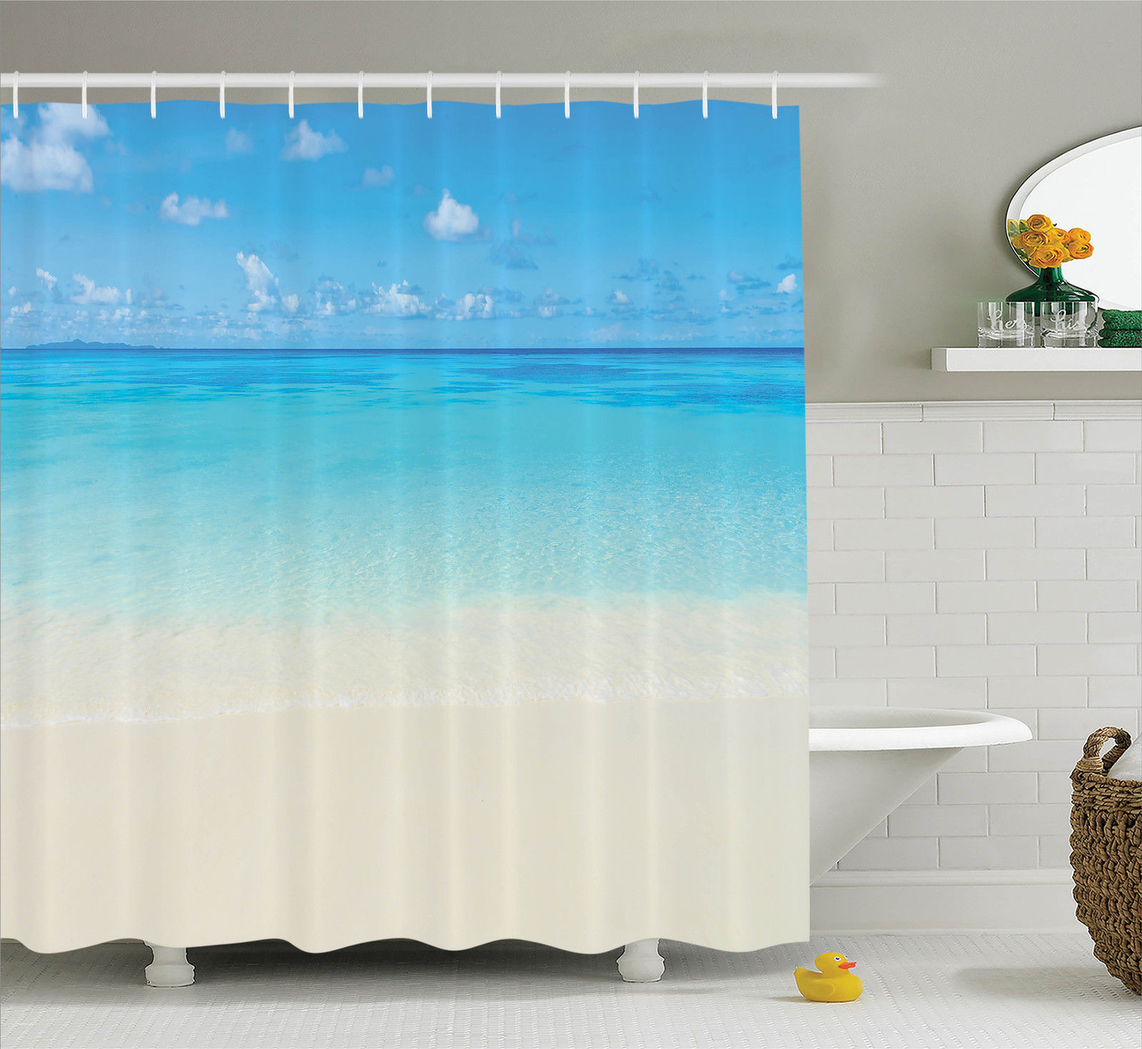 Ocean Decor Shower Curtain Set, Paradise Beach In Tropical Caribbean Sea With Fantastic Sky View Calm Beach House Theme, Bathroom Accessories, 69W X 70L Inches, By Ambesonne