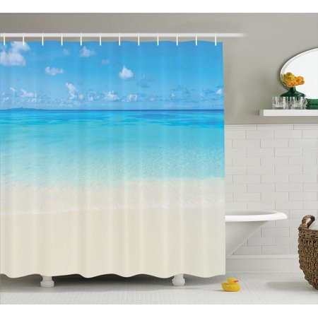 Ocean Decor Shower Curtain Set, Paradise Beach In Tropical Caribbean Sea With Fantastic Sky View Calm Beach House Theme, Bathroom Accessories, 69W X 70L Inches, By - Beach Themed Accessories