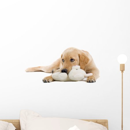 Golden Retriever Puppy Wall Decal Sticker by Wallmonkeys Vinyl Peel and Stick Graphic (18 in W x 9 in H) ()