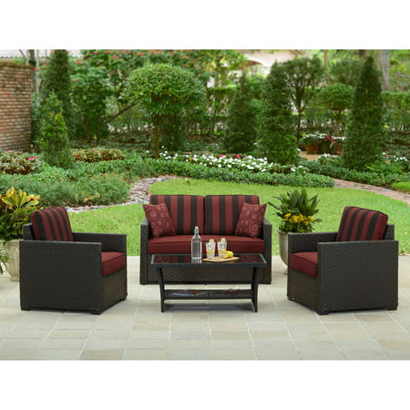 Better homes and gardens rush valley 4 piece outdoor conversation set for Better homes and gardens patio furniture cushions