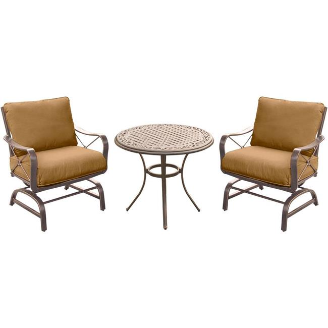 Summer Nights 2 Steel Rockers with 30 in. Cast Table Dining Set