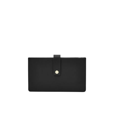 Fossil Card (Fossil Vale Women's Medium Tab Wallet Genuine Leather Card Case Clutch Wallet Black One Size )