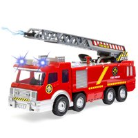 Best Choice Products Bump and Go Electric Fire Truck Toy w/ Lights, Sound, Extendable Ladder, Water Pump Hose (Red)