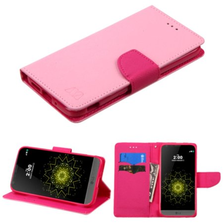 Insten Folio Leather Wallet Case with card slot For LG G5 - Pink - image 4 de 4