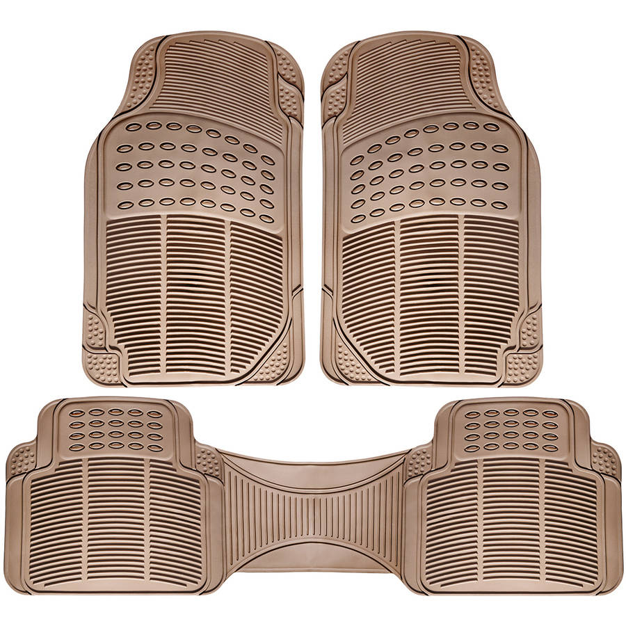 OxGord Universal Fit 3-Piece Full Set Ridged Heavy Duty Rubber Floor Mat, Beige