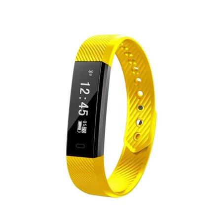 Smart Bracelet Fitness Tracker Watch Alarm Clock Step Counter Smart Wristband Band Sport Sleep Monitor Smartband (Yellow)