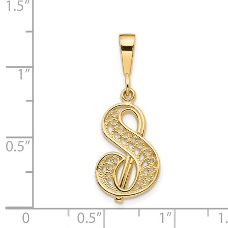 14k Yellow Gold Initialcharm Necklace Pendant Charm Initial Fine Jewelry Gifts For Women For Her - image 1 of 7