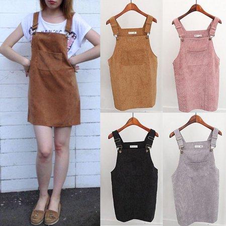 Women Corduroy Suspender Skirt Retro Summer Sundress Overall Vest Jumpsuit Dress