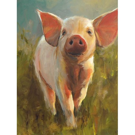 Morning Pig Adorable Cute Baby Animal Farm Farmhouse Style Animal Painting Print Wall Art By Cari J. Humphry (Paintings Animals)