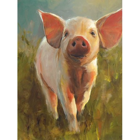 Morning Pig Adorable Cute Baby Animal Farm Farmhouse Style Animal Painting Print Wall Art By Cari J. Humphry ()