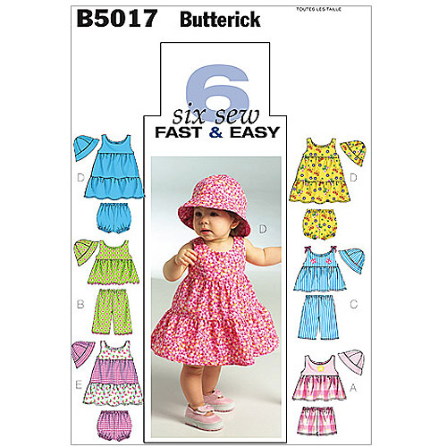 Butterick Pattern Infants' Top, Dress, Panties, Shorts, Pants and Hat, All Sizes