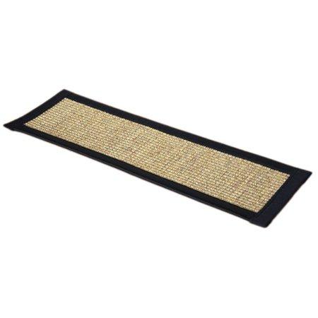 Dean Attachable Non Skid Sisal Carpet Stair Treads Desert Black Set Of