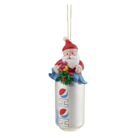 Northlight 4.75 in. Ho Ho Diet Pepsi Can with Santa Topper Glass Ornament