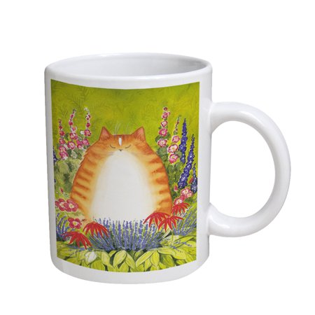 KuzmarK Coffee Cup Mug 11 Ounce -  Ginger Tabby Cat with Garden Flowers Art by Denise Every ()